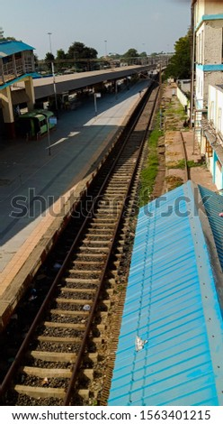 railway station and railway track of bharuch city in gujrat state in india #1563401215