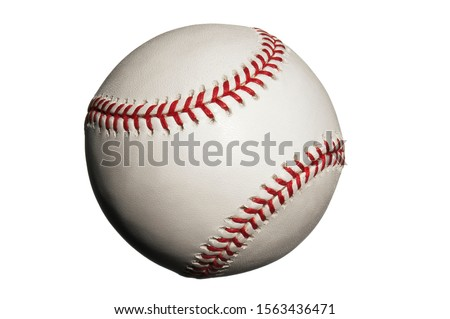 Baseball with seams showing on white background #1563436471