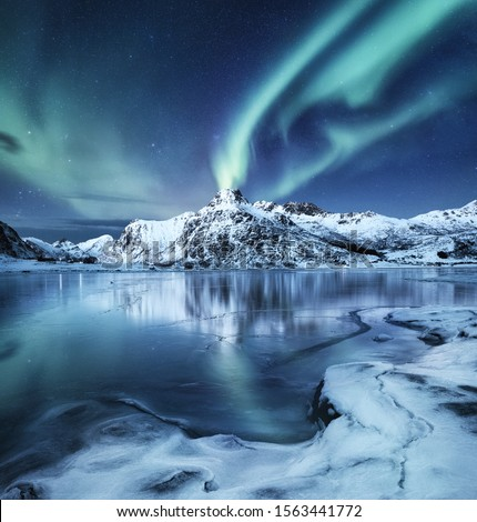 Aurora Borealis, Lofoten islands, Norway. Nothen light, mountains and frozen ocean. Winter landscape at the night time. Norway travel - image #1563441772