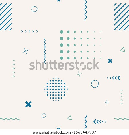Cute seamless background. Memphis pattern. Flat concept. Fashion 80s-90s. Retro funky graphic. Vintage geometric print illustration element. Repeat banner. Vector template. Minimalist color backdrop Royalty-Free Stock Photo #1563447937