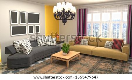 Interior of the living room. 3D illustration. #1563479647
