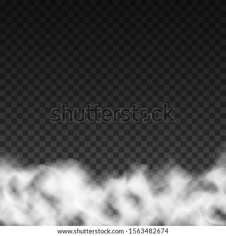 Fog or smoke isolated transparent special effect. White vector cloudiness, mist or smog background. Vector illustration - stock vector #1563482674
