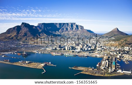 Aerial view of Cape Town city centre, with Table Mountain, Cape Town Harbour, Lion's Head and Devil's Peak Royalty-Free Stock Photo #156351665