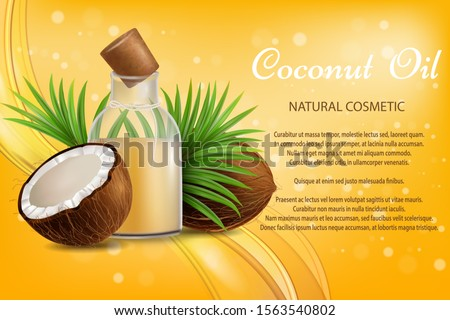 Coconut oil natural cosmetic, vector poster template. Realistic whole and half coco, oil bottle, palm leaves. Organic coconut oil beauty product brand advertising composition with text. #1563540802