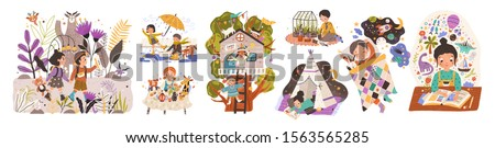 World of childhood flat vector illustrations set. Kids cartoon characters playing games and doing childish activities. Building a shelter, drawing, reading fairy tales. Children dreams and imagination