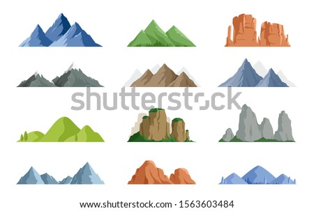 Vector set of isolated snowy mountains, mountain peak, hill top, iceberg, nature landscape. Camping landscape and hiking illustration. Outdoor travel,  adventure, tourism, climbing design elements #1563603484