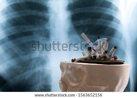 concept of the dangers of smoking cigarettes, the danger of cigarette smoke to humans, copy space #1563652156