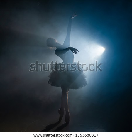 Young beautiful ballerina on smoke stage dancing modern ballet. Performs smooth movements with hands against spotlight background. Woman in black tutu costume on scene. #1563680317