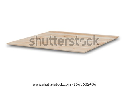 Empty light wooden shelves or counter top isolated on white background with clipping path. Highly detailed resolution on top view for any design. Use as products display montage. 3D illustration #1563682486