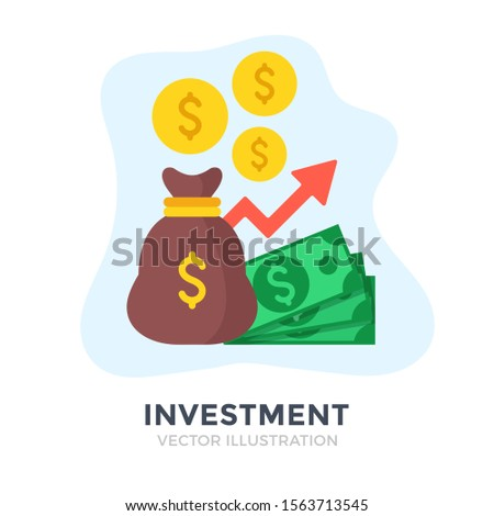 Investment. Flat design. Investing, money management, capital, banking, economic growth, financial plan concepts. Vector illustration #1563713545