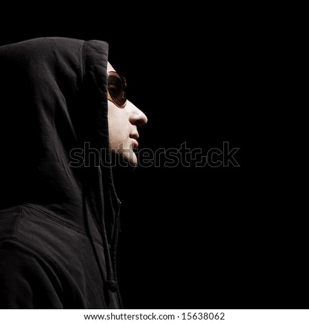 profile of handsome man in hood and sunglasses #15638062