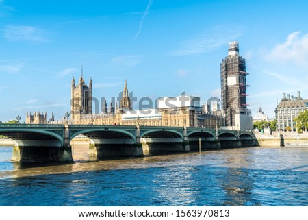 Big Ben and Westminster Bridge with River Thames in London, UK #1563970813