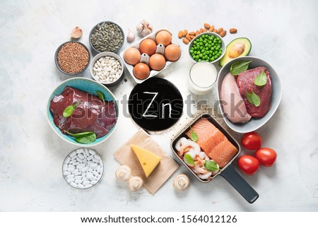 Foods High in Zinc for lowers cholesterol; reproduce health, boosts immune system. Healthy diet concept. Top view  #1564012126