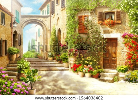old town europe village wall Royalty-Free Stock Photo #1564036402