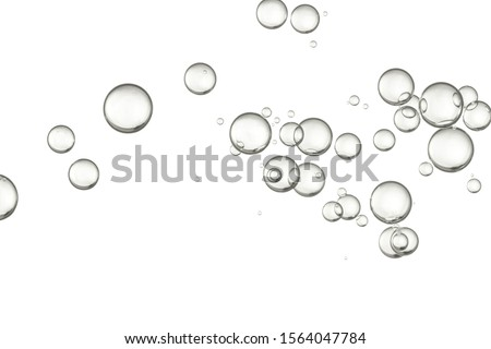 Light bubbles of water isolated over white,
