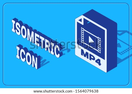 Isometric MP4 file document. Download mp4 button icon isolated on blue background. MP4 file symbol.  Vector Illustration