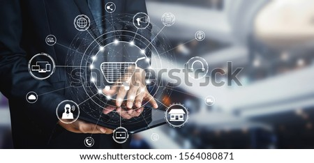 Omni channel technology of online retail business. Multichannel marketing on social media network platform offer service of internet payment channel, online retail shopping and omni digital app. Royalty-Free Stock Photo #1564080871