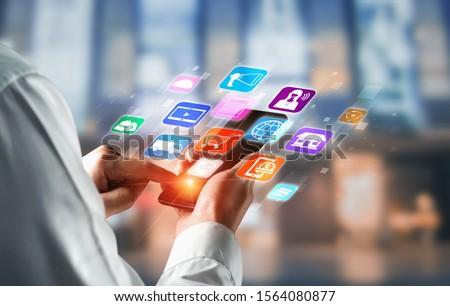 Omni channel technology of online retail business. Multichannel marketing on social media network platform offer service of internet payment channel, online retail shopping and omni digital app. #1564080877