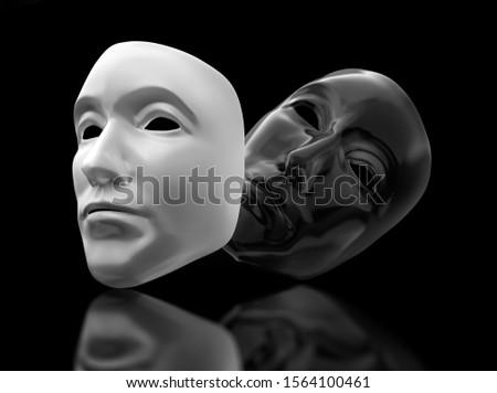 Golden theater masks on black background - 3D illustration #1564100461