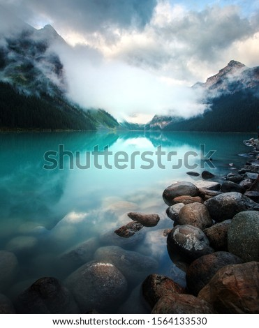Sunrise at Lake Louise, Alberta, Canada. This is the most popular lake in the Canadian Rockies. #1564133530