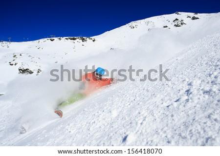 Skiing, Skier, Freeride in fresh powder snow - man skiing downhill #156418070