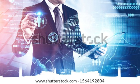 Unrecognizable businessman with clipboard working with immersive big data interface in modern city. Toned image