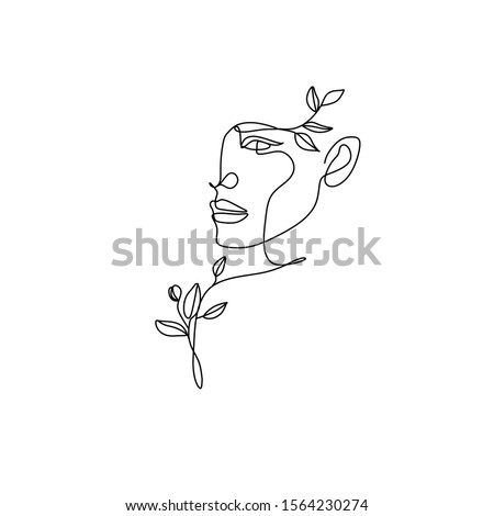 Flower in woman head. Vector line illustration. Line drawing. One line. Nature face. Nature cosmetics. Flower icon. Minimalist print. One Line Black White Drawing Artwork, Minimalist Couple Art, Minim #1564230274