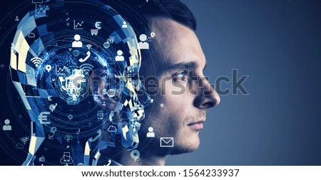 AI (Artificial Intelligence) concept. Communication network. Royalty-Free Stock Photo #1564233937