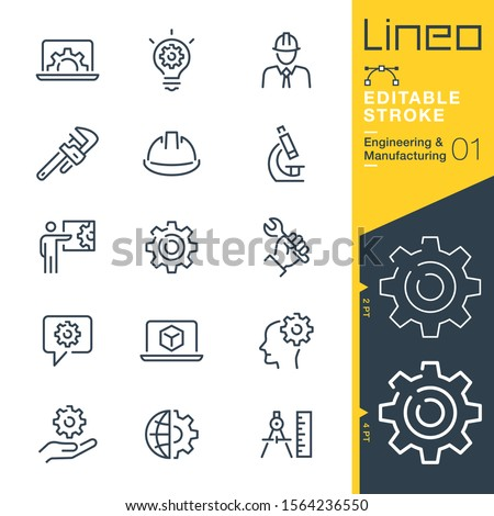 Lineo Editable Stroke - Engineering and Manufacturing line icons Royalty-Free Stock Photo #1564236550