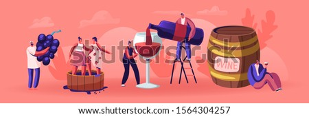 Wine Producing and Drinking Concept. Man with Bottle Pouring Alcohol Drink to Glass. Male and Female Characters Grow Organic Grapes, Produce Natural Vine Production. Cartoon Flat Vector Illustration #1564304257