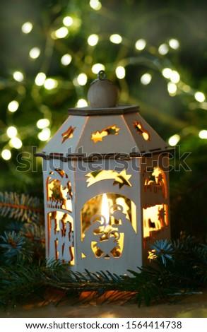 Christmas card with christmas crib, vertical                       #1564414738