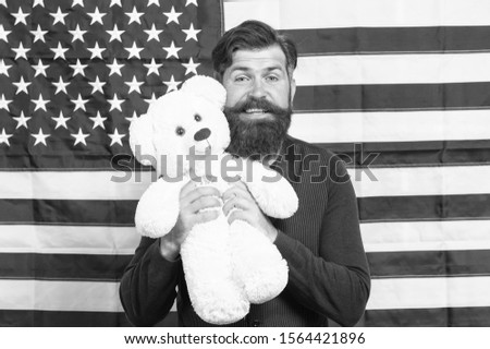 The enthusiastic spirit. Patriotic man holding teddy bear on independence day. Bearded hipster being patriotic for usa. Patriotic feelings. #1564421896