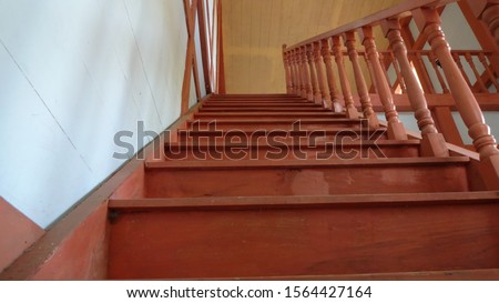 wooden stairs to the second floor #1564427164