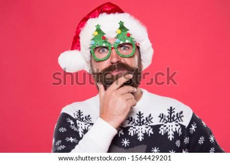 Santa needs good beard. Hipster touch beard hair in festive style. Bearded man with long mustache and beard. Beard styled for santa claus look. Mens grooming salon. Barbershop. #1564429201
