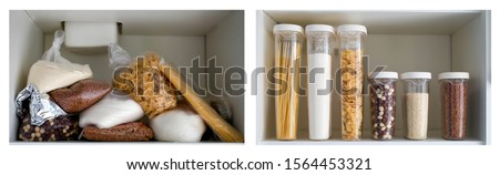 Kitchen cabinet collage before and after organization. Royalty-Free Stock Photo #1564453321