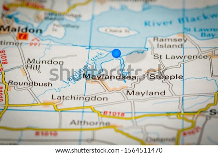 Blue Map Pin on Paper Map Showing Maylandsea #1564511470