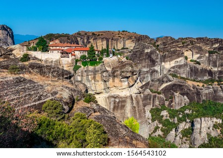 Landscape view of the mountains of Meteora. Sunny day in Meteora, Greece #1564543102