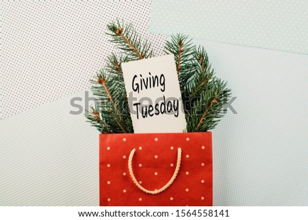 Giving Tuesday concept. Minimal flat lay with handwriting text Giving Tuesday in red gift bag and fir tree branches on pastel background #1564558141