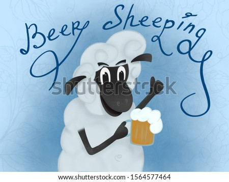 Sheep smiling and holding a glass of beer. Sheep and stout. OktoberFest Art Cartoon Cute Sheep Animals October Beer Festival
