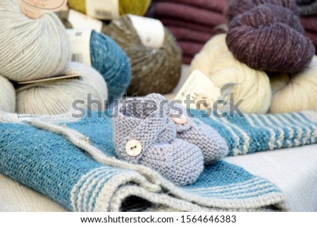 Handmade garments made of wool for s baby - shoes and jacket and wool #1564646383