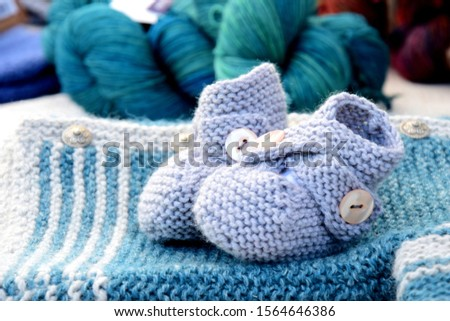 Handmade garments made of wool for s baby - shoes and jacket and wool #1564646386