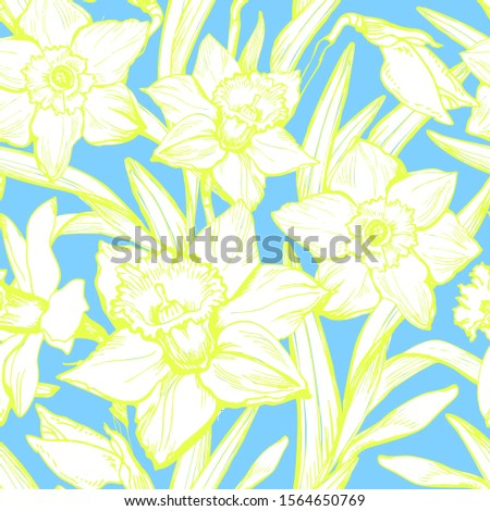 Summer gentle floral seamless pattern with white flowers daffodils on blue sky background. Rapport textile composition, ink hand drawn style print. Raster botanical illustration.