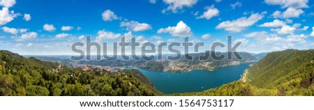 Panoramic aerial view of lake Como in Italy in a beautiful summer day #1564753117