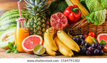 Assortment of raw fruits and vegetables, fresh mix vegetable.  #1564791382