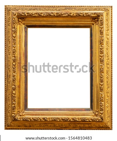 Gold vintage beautiful picture frame isolated on white background