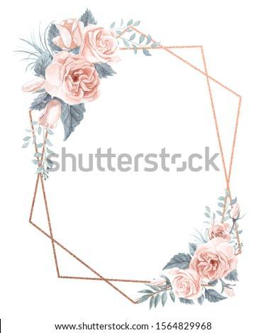 Watercolor painting roses and greenery foliage. Dusty blue and blush pink color palette.