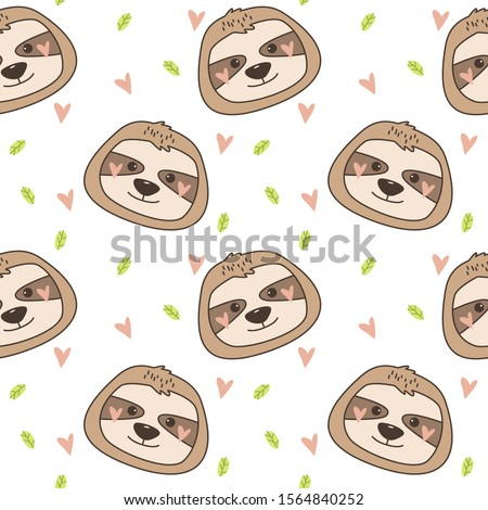 Seamless background with cute baby sloths, plant elements and hearts. Pattern on an isolated white background. Vector illustration.