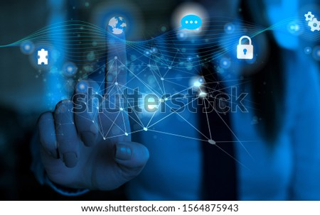 photo of network system in modern technology smart gadget device. Illustrated picture icon symbol of schemed networking telecommunications information technical knowledge #1564875943