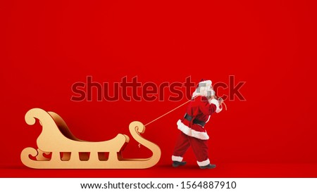 Santa Claus drags a big golden sleigh on a red background