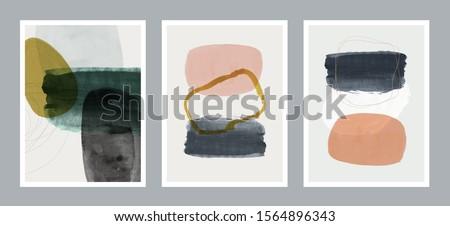 Set of creative minimalist hand painted illustrations for wall decoration, postcard or brochure cover design. Vector EPS10. #1564896343
